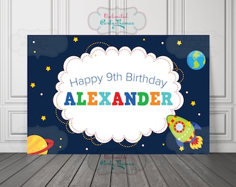 Outer Space Birthday Backdrop or Poster - Outer Space Backdrop - Astronaut Vinyl Backdrop - Astronaut Backdrop