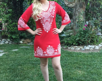 Womens Dresses, Red Dress, Tunic Dress, Ethnic Dress, Western Dress, Red with White, XXS XS S M L XL, V Neck, 3/4 Bell Sleeve