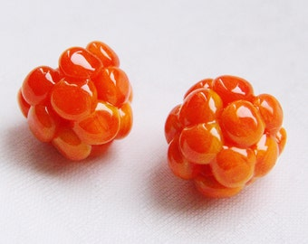 Glass lampwork cloudberry beads