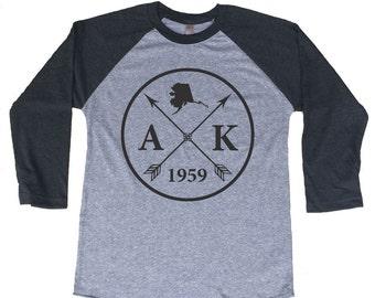 Homeland Tees Alaska Arrow Tri-Blend Raglan Baseball Shirt