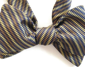 Silk Bow for Men- Classic Stripe , Handcrafted, Self-tie, Adjustable - Free Shipping