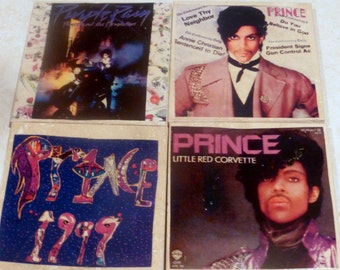 Prince Travertine Tile Coasters - coasters - Stone Coasters - Marble Coasters - CD Covers - set of 4 - music coasters - Purple Rain Coasters