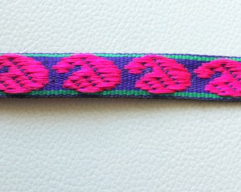 Blue Fabric Trim With Fuchsia Pink And Green Embroidery Thread Lace Trim, 15mm wide - 140316L69
