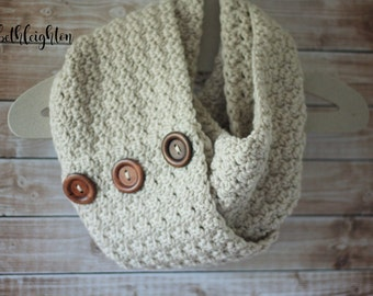 MADE TO ORDER Chunky Infinity Scarf with Wood Buttons