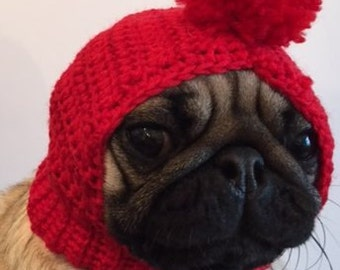 Pug Hat - Pug Balaclava - Pug Bobble Hat - Pet Clothes - Dog Clothing - Dog Hat
