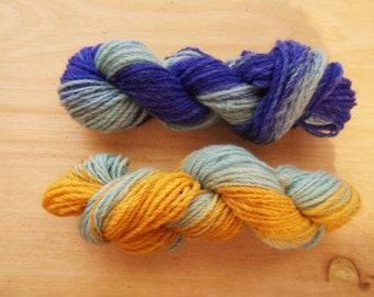 "Mini Skein 40yds of Sock Weight Chain Plyed Merino Yarn- ""Little Boy Blue"""