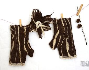 Chocolate brown fingerless gloves, Felted armwarmers, Chocolate wristwarmers, Wool cuffs, Fingerless mittens, brown mittens