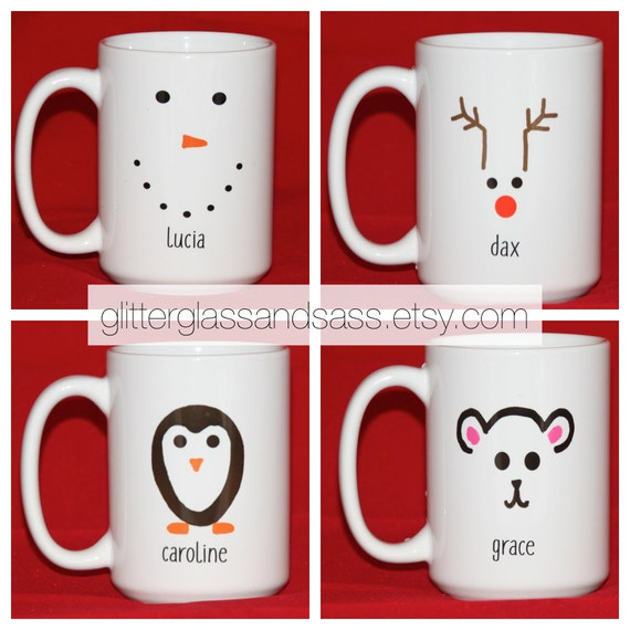 Personalized snowman mug set of 4 to 7 christmas kids party for Unique christmas mugs