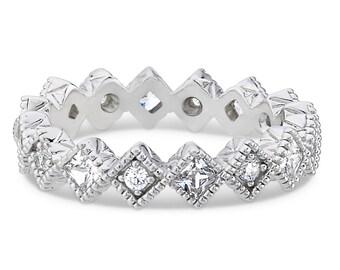 Diamond Eternity Rings, Womens Wedding Rings, 14K Gold Anniversary Wedding Bands, Diamond Wedding Rings, Matching Wedding Rings 0.81 Carats