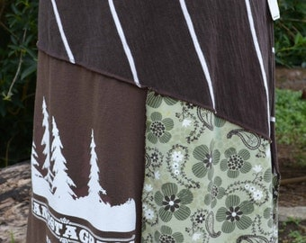 Large green and brown upcycled tshirt skirt repurposed clothing ecofashion recycled