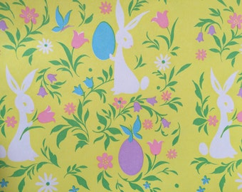 Easter gift wrap etsy vintage gift wrapping paper floral easter paper groovy retro easter bunny with eggs negle