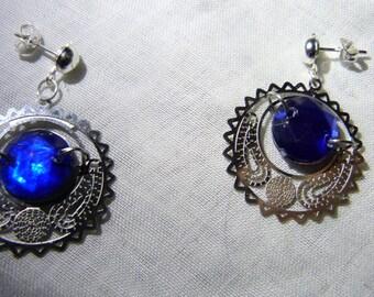 Blue Stud Hoop Earrings