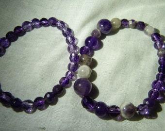 Amethyst polished stone bead bracelet