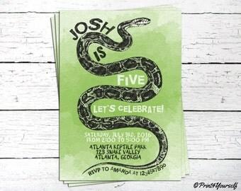 Snake Invitation // Personalized Printable Reptile Birthday Invitation // Reptile Invite // Reptile Birthday