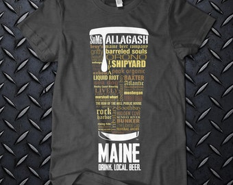"""MAINE CRAFT BEER Typography"""" t shirt. One of a kind. Maine Craft Beer. Drink Local Beer. ring spun cotton. Unique design."""