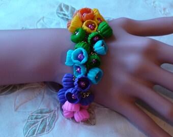 Polimer clay Bracelet Cluster Bracelet Designer jewelry Romantic bracelet Floral bracelet