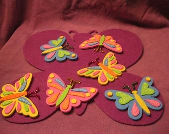 6 REFRIGERATOR MAGNETS--Butterflies