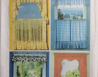 Curtains Pattern Simplicity Decorator Pattern Simplicity 5494 Sewing Roman Shades & Austrian Curtains Pamphlet old fashioned kitchen curtain