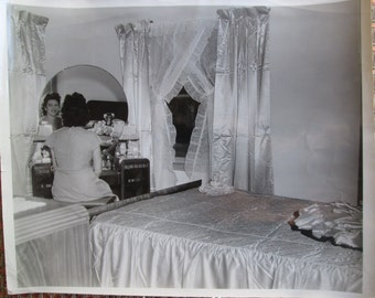 Vintage Black & White Photograph Woman Sitting At Dressing Table In Bedroom Satin Bedspread and Curtains 8 x 10 Glossy