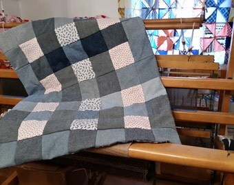 Quilt, small, handmade from repurposed and new fabrics