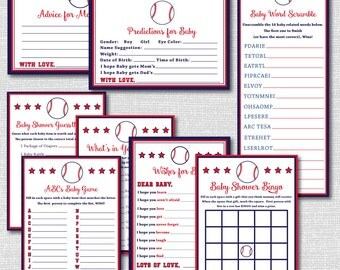 Baseball Baby Shower Games Collection - 8 Printable Games and Activities - Bingo, Wishes, Predictions, Word Scramble... - INSTANT DOWNLOAD