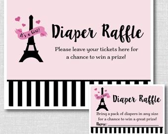 Girl Paris Diaper Raffle Ticket - Paris Baby Shower - INSTANT DOWNLOAD