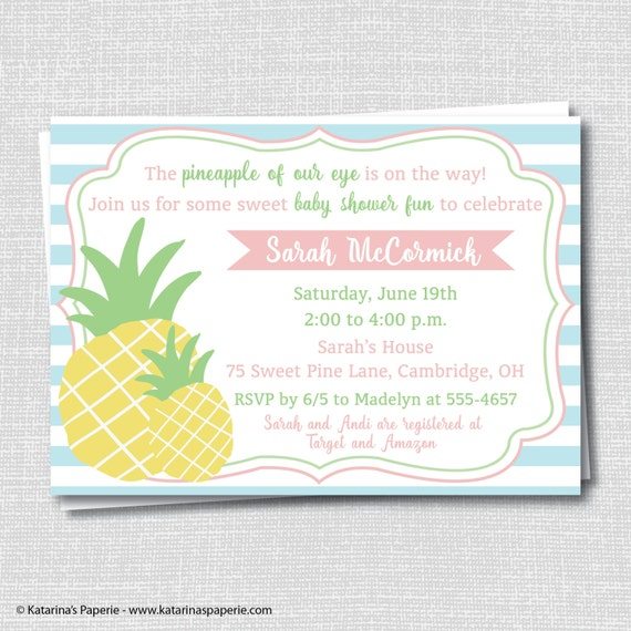 Pineapple Baby Shower Party Invitation Pineapple Themed Baby