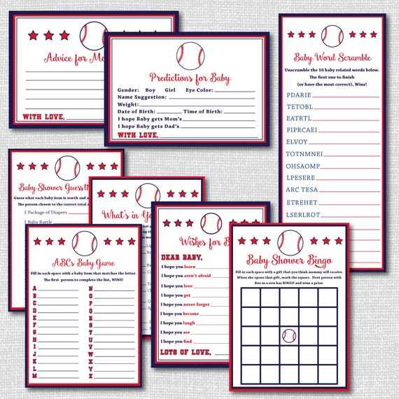 baseball baby shower games collection 8 printable games and