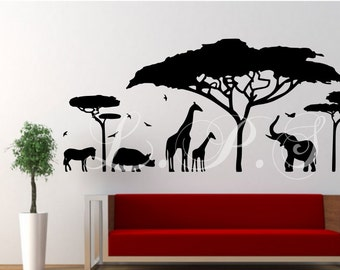 Safari Animal Decal Etsy - Wall decals animalsafrican savannah wall sticker decoration great trees with