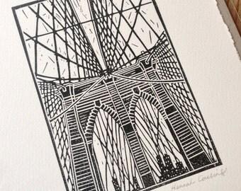 Brooklyn Bridge NYC Original Linocut Print