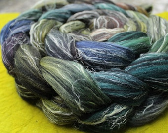 Combed tops, Merino/linen, hand dyed, dark, colorful