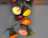 ON SALE - 30% String Lights LED battery powered Garland Felted wool Natural Rustic  Eco Lamp