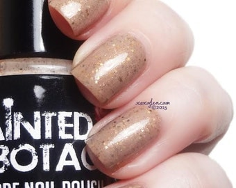 Storyteller - Neutral brown with light and dark brown glitter nail polish by Painted Sabotage