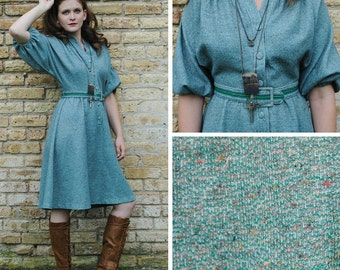 Vintage Green Dress - Green Wool Dress, Green Dress, Wool Dress, Vintage Wool Dress, Vintage Dresses