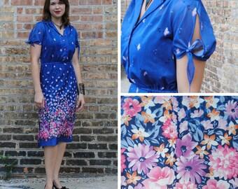 Sheer Blue Floral Dress