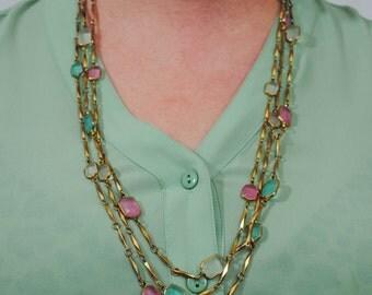Pastel Multi Strand Necklace