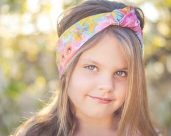 Floral paradise organic baby girl turban headband   baby girl flower headband