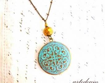 Blue Locket Necklace in Boho style Turquoise Verdigris Antique style secret message round Photo keepsake vintage weathered item