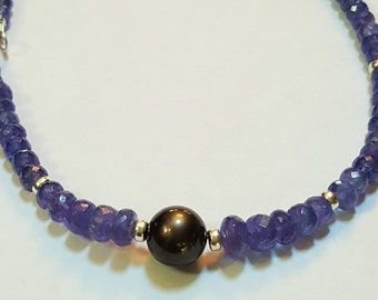 117.05ctw Tanzanite and 11mm Tahitian Pearl Necklace