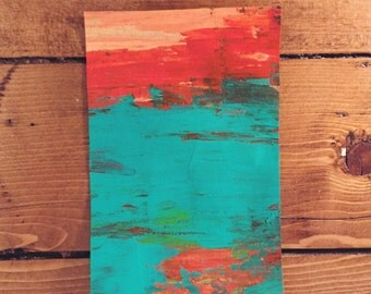 Abstract Acrylic Painting in Red & Turquoise