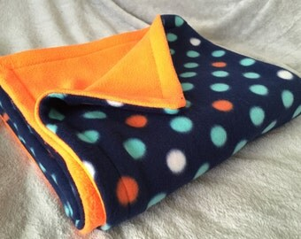 Bright Orange and Blue Polka Dots Baby Blanket