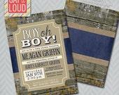 Boy Oh Boy Rustic Baby Shower Invitation