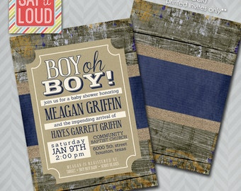 Boy Oh Boy Rustic Baby Shower Invitation