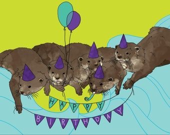 Otters in Party Hats Birthday Card w/ CUSTOMIZABLE Message Option