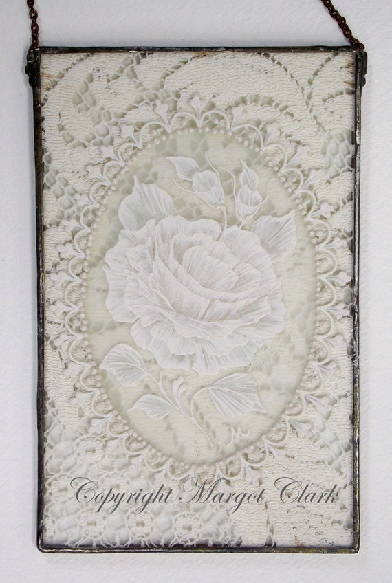 Lace and Roses on Glass