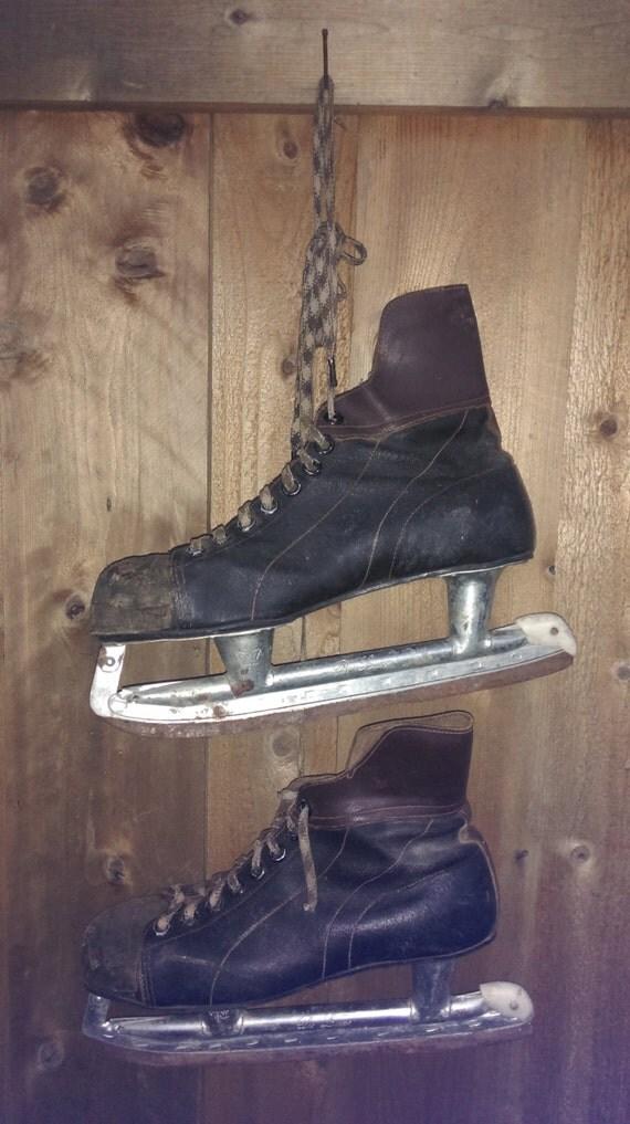 Vintage Ice Hockey Skates Mens Black Brown Leather Dr Love Rustic Winter Christmas Door Decoration Holiday Distressed Wedding Valentines