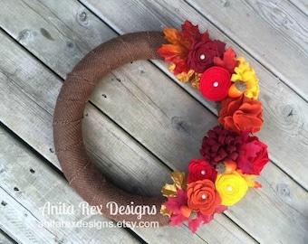 Burlap Fall Wreath, Fall Flower Wreath, Fall Wreath, Autumn Wreath, Leaves
