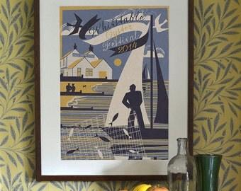 Original Design Art Deco A3 A2 A1 Poster Print Bauhaus Vintage Whitstable Beach Seaside Holiday Travel