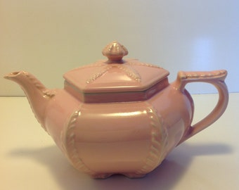 Vintage Hall China Pink Plume Teapot