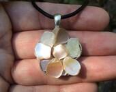 SALE Mother of Pearl handmade flower pendant Mermaid Ocean Sea Shell hippie gypsy pagan free spirit bohemian jewelry